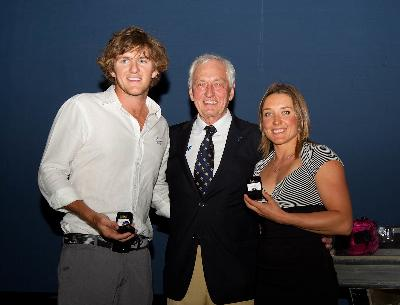 Kuno Ritschard, President, presented awards in Mandurah to IWWF Athletes of the Year 2011, Racing Skier Christopher Stout AUS, and Waterskier Natalia Berdnikova BLR